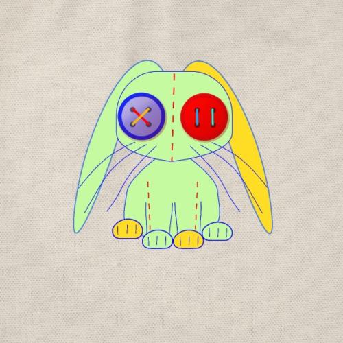 tygkanin gröm gul och röd med knappögon - Drawstring Bag