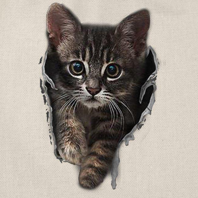 Vorschau: Katze Riss - Turnbeutel