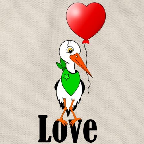 Storch mit Herzluftballon - Turnbeutel