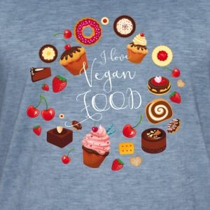 sweetie I love vegan food cakes circle sweet fruit - Men's Vintage T-Shirt