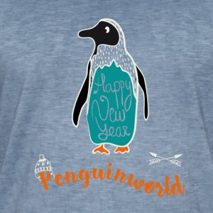 Pinguin Weihnacht Schnee illustration new year tol - Männer Vintage T-Shirt