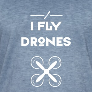 drone I fly drone airplane pilot flying hip - Men's Vintage T-Shirt