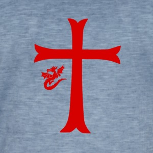Red Dragon & Cross - Men's Vintage T-Shirt