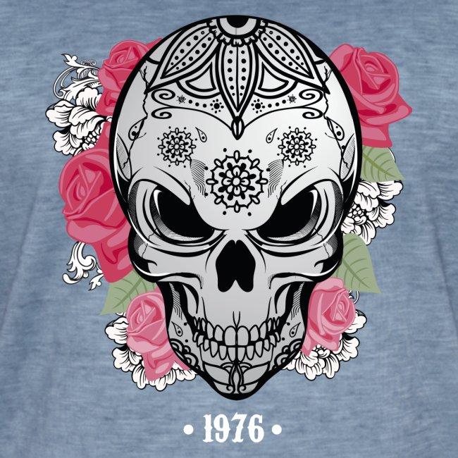 Tête de mort avec rose Biker