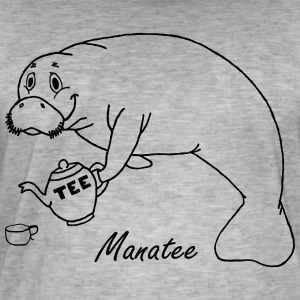 Manatee likes tea - Men's Vintage T-Shirt