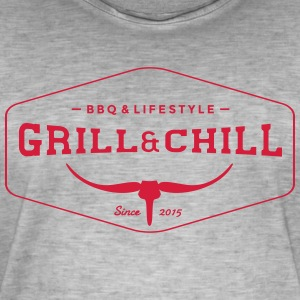 Grill and Chill / BBQ and Lifestyle Logo 1 - Männer Vintage T-Shirt