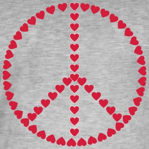 heart Peace - Vintage-T-shirt herr