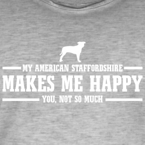 AMERICAN STAFFORDSHIRE makes me happy - Männer Vintage T-Shirt