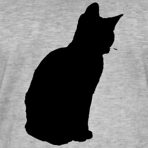 Vector Cat Silhouette - Vintage-T-skjorte for menn