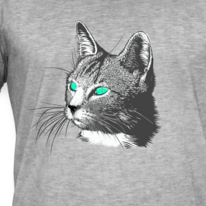 Cat hoved Tegning dyrehoved store pels grøn august - Herre vintage T-shirt