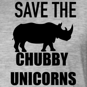 save the chubby unicorn - Vintage-T-shirt herr