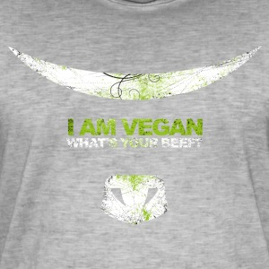 I AM VEGAN! WHAT'S YOUR BEEF? (white) - Männer Vintage T-Shirt