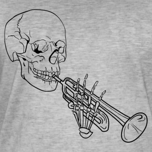 Skeleton with Trumpet - Men's Vintage T-Shirt