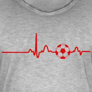 ECG HEART LINE FOOTBALL red - Men's Vintage T-Shirt