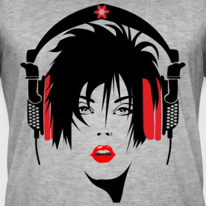 mujer_con_cascos - T-shirt vintage Homme