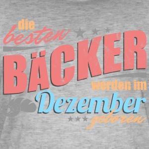Bakers Bursdag: Desember - Vintage-T-skjorte for menn