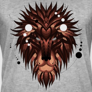 Geometrisk Lion (Brown) - Vintage-T-shirt herr