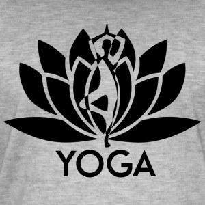 ++ ++ Yoga Flower - Vintage-T-skjorte for menn