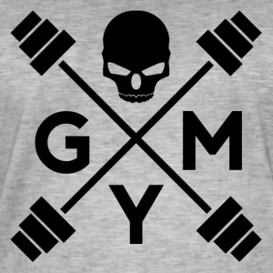 gym Skull - Vintage-T-skjorte for menn