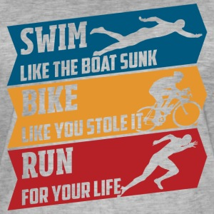 Swim - Bike - Run - Herre vintage T-shirt