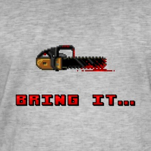 Pixel Bloody Chainsaw - Men's Vintage T-Shirt