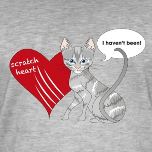 Cat with scratched heart - Men's Vintage T-Shirt