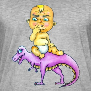 Baby and Dinosaur, an unexpected friendship. - Men's Vintage T-Shirt