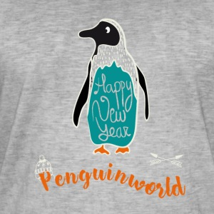 Penguin Christmas snö illustration nytt år tol - Vintage-T-shirt herr
