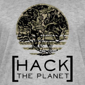 """Hack the planet"" motto T-shirt Camouflage - Men's Vintage T-Shirt"