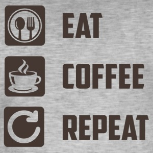 Eat,Coffee,Repeat - Männer Vintage T-Shirt