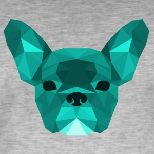 Low Poly Frenchie cyaan - Mannen Vintage T-shirt
