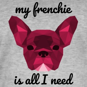 Low Poly Frenchie red - Männer Vintage T-Shirt
