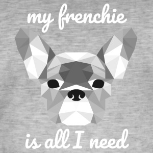 Low Poly Frenchie white - Men's Vintage T-Shirt