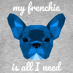 Low Poly Frenchie blauw - Mannen Vintage T-shirt