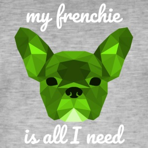 Lav Poly Frenchie grøn - Herre vintage T-shirt