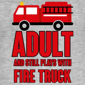 Fire Department: Adult and still plays with fire truck - Men's Vintage T-Shirt
