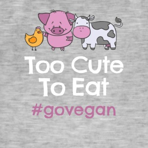 "Vegan Tshirt ""Too Cute to Eat #GOVEGAN"" - Men's Vintage T-Shirt"