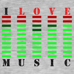 I Love Music - Vintage-T-skjorte for menn
