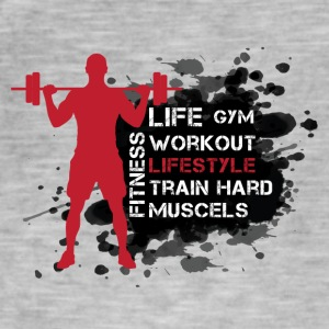 Life, Gym, Workout, Lifestyle, Train, Hard, Muscel - Men's Vintage T-Shirt