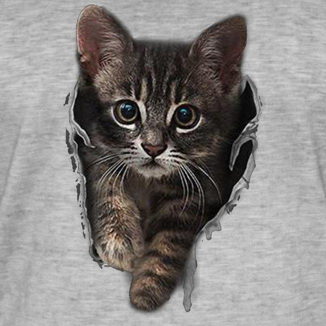 Vorschau: Katze Riss - Männer Vintage T-Shirt