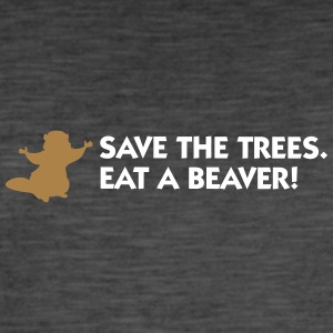Save The Trees. Eat A Beaver. - T-shirt vintage Homme