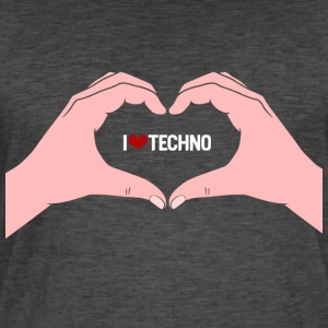 I Love Techno 2 mains - T-shirt vintage Homme