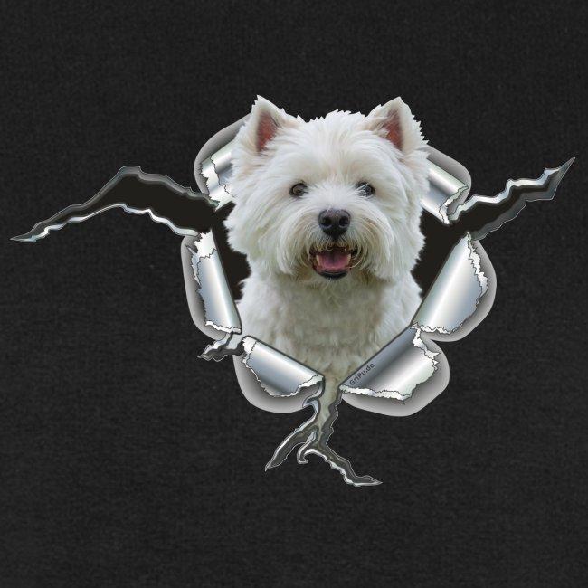 West Highland Terrier im Metall-Loch