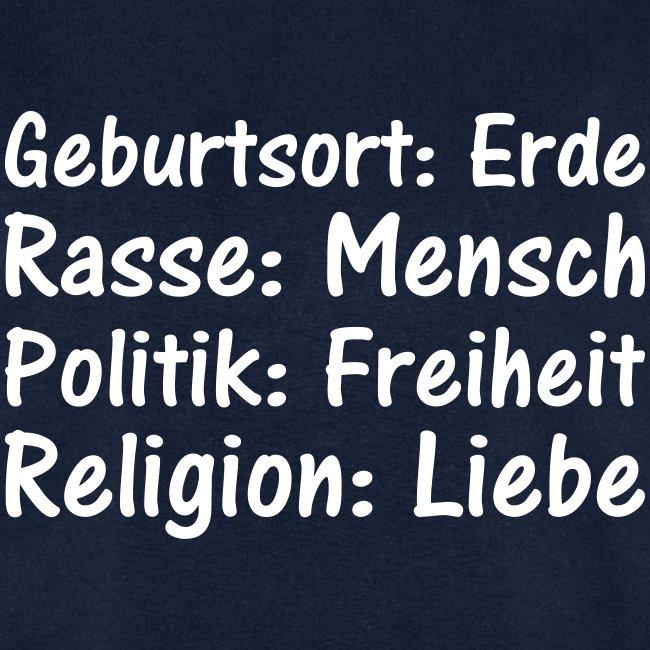 Geburtsort Rasse Politik Religion