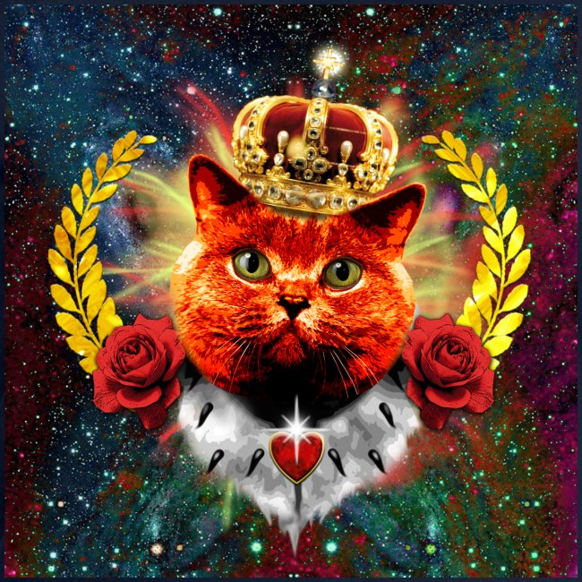 Red Roses Cat Queen rote Katze Krone King Royal