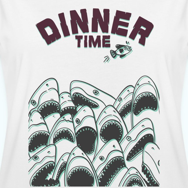 Dinner Time Funny Retro 90s Shark Shirt