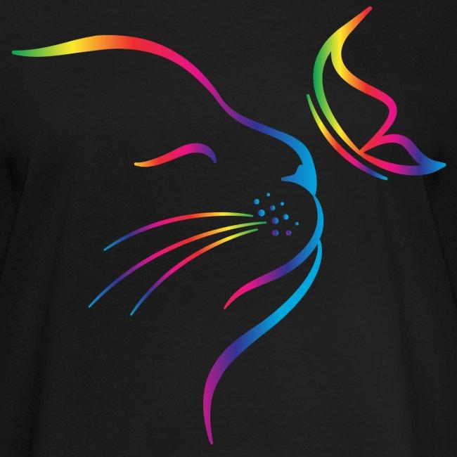 Vorschau: rainbow butterfly cat - Frauen Oversize T-Shirt