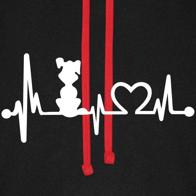 Vorschau: dog heart beat - Unisex Baseball Hoodie
