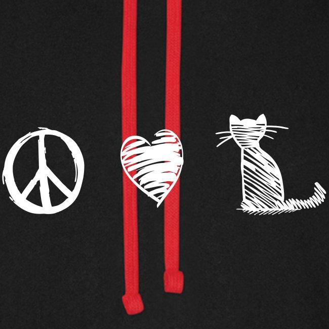 Vorschau: peace love cats - Unisex Baseball Hoodie