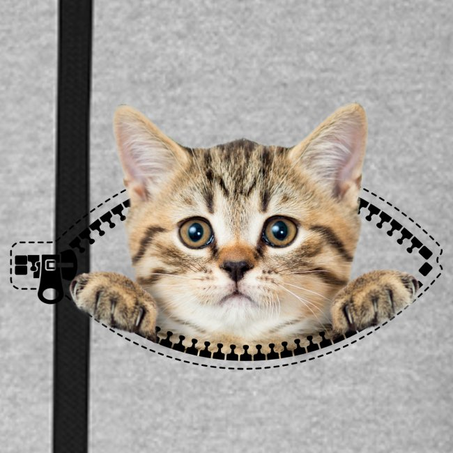 cat zipper pocket - Unisex Baseball Hoodie